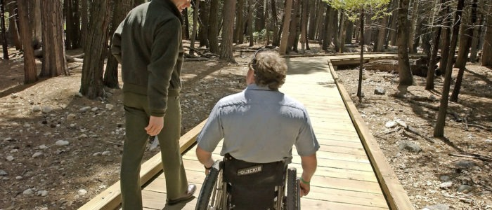 The new wheelchair-accessible path near Lower Yosemite Fall. Photo: Yosemite Conservancy/Al Golub.