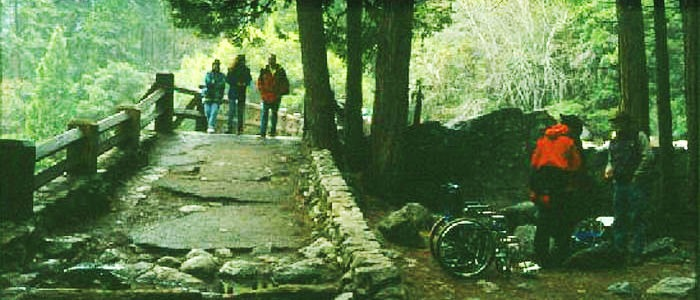 """Before"" image of the trail to Lower Yosemite Falls in disrepair and not easily accessible. Photo: Yosemite Conservancy"