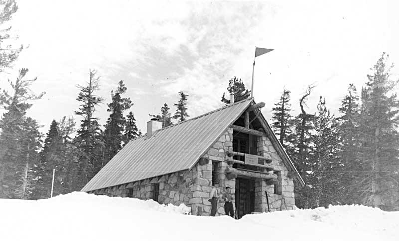 Visitors at the Ostrander Ski Hut in 1941. Photo: NPS.