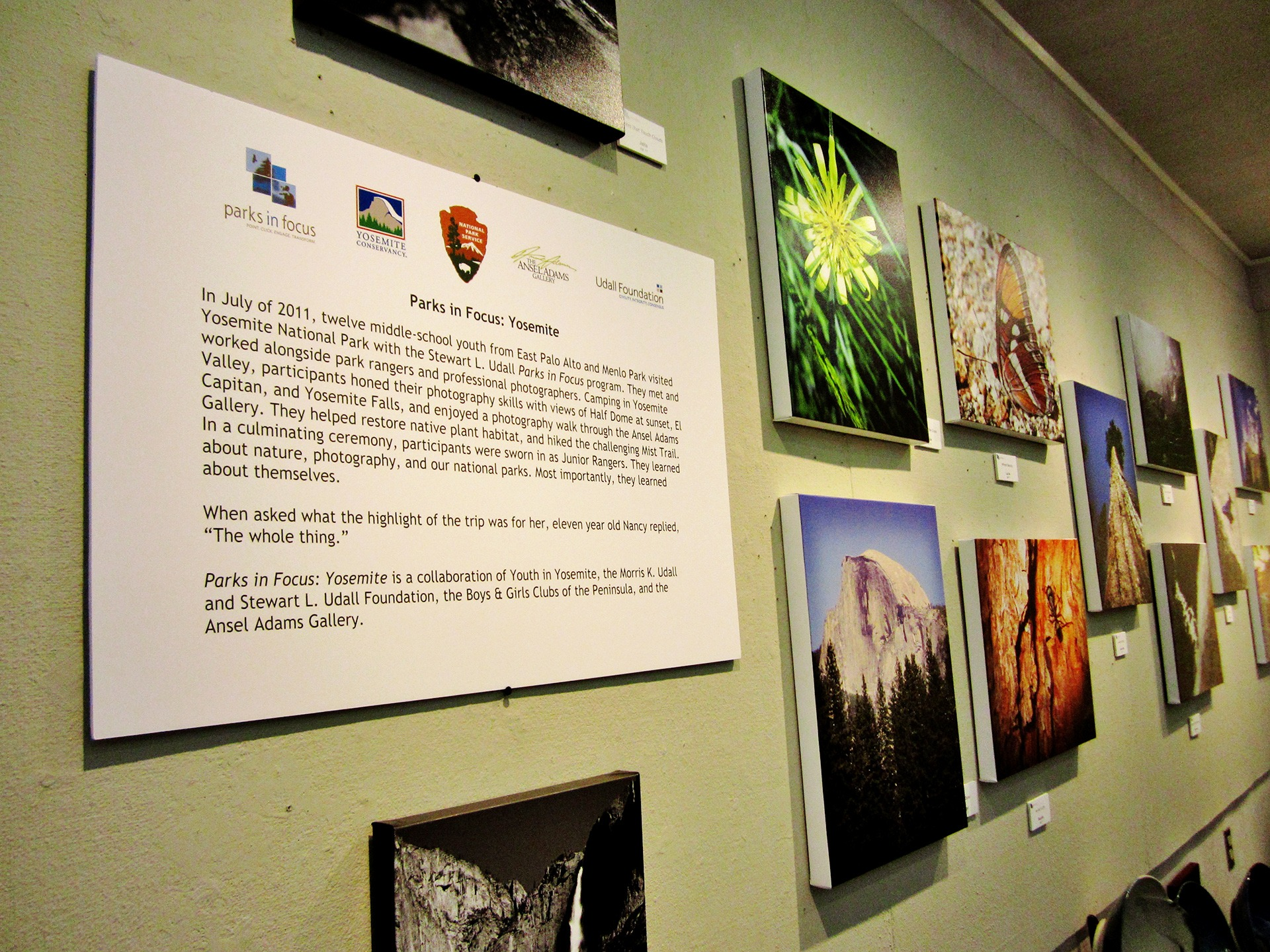 The inaugural Parks in Focus exhibit at The Ansel Adams Gallery in Yosemite Valley.