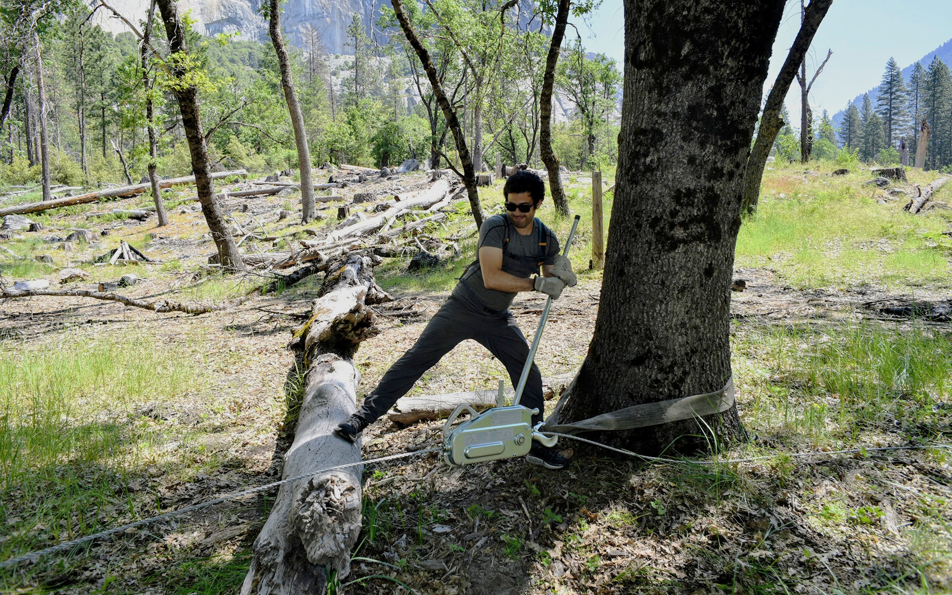 A 2019 work week volunteer uses a Griphoist to move heavy materials as part of a project to create a safe, sustainable climbing approach trail to El Capitan.
