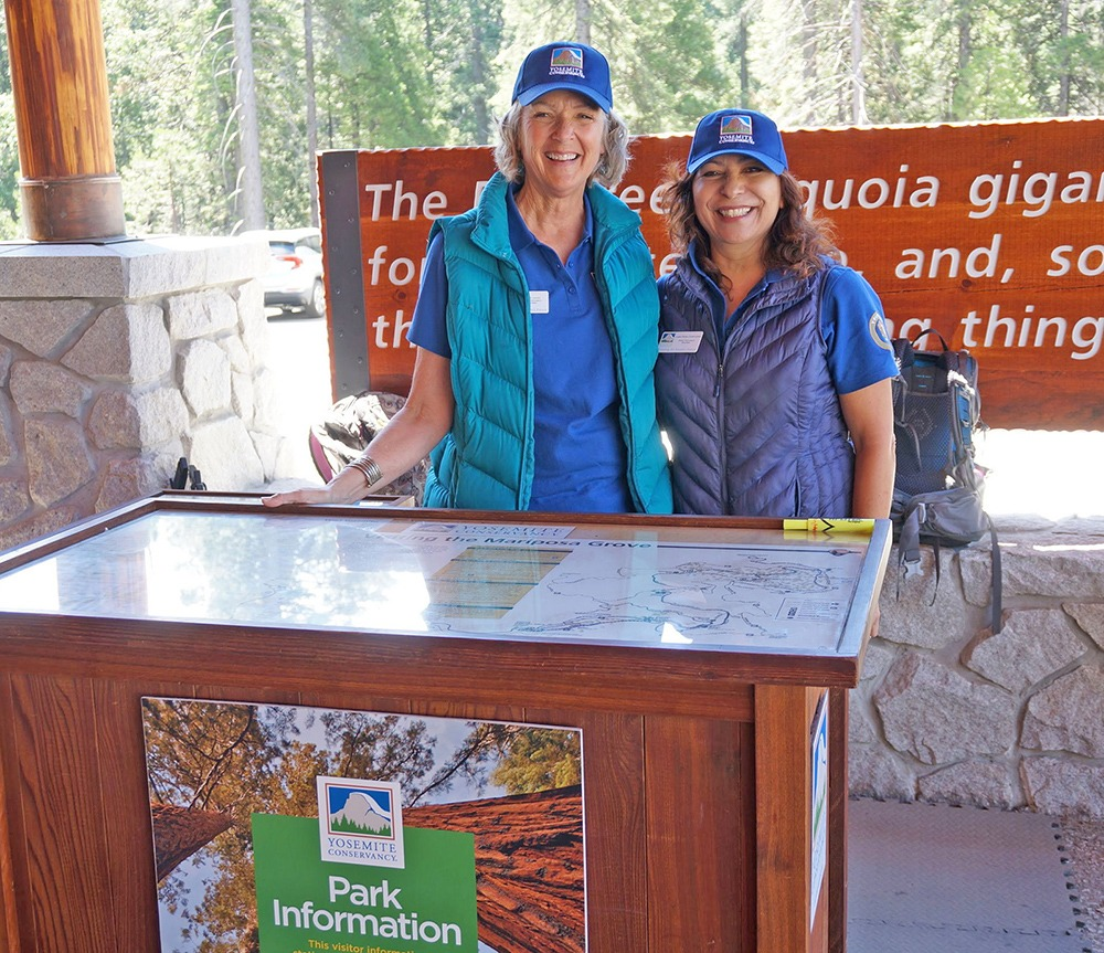 Yosemite Conservancy volunteers help visitors at the Mariposa Grove Welcome Plaza. Photo: Yosemite Conservancy/Mark Marschall (July 2019).