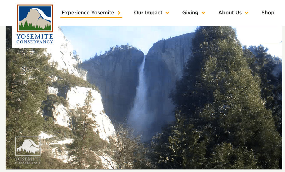 Yosemite Conservancy webcam view of Yosemite Falls in April 2020. Credit: Webcam by Yosemite Conservancy.