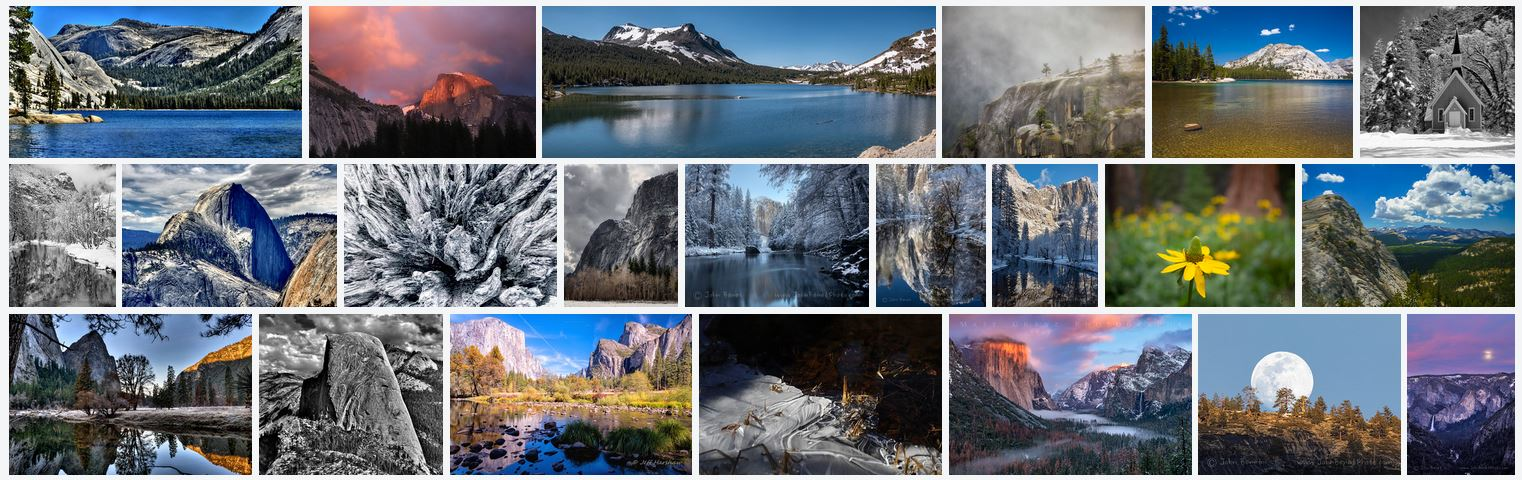 A screenshot of Yosemite images from the Yosemite Conservancy Flickr pool.