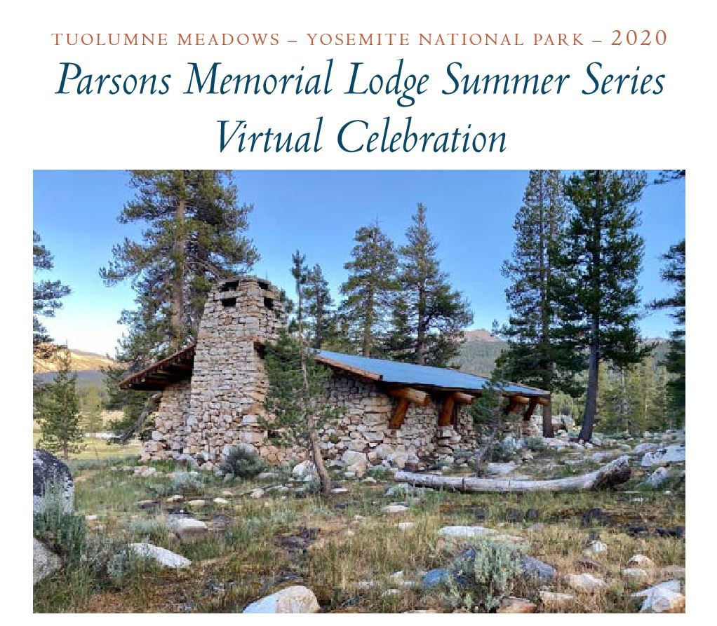 Part of the flyer for the 2020 Parsons Memorial Lodge Summer Series - Virtual Celebration, featuring a picture of the lodge.