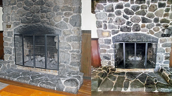 Two images take in summer 2020 showing the 100-year-old stone Rangers' Club fireplace before restoration, looking faded and scarred, and partway through restoration work, with fresh mortar.