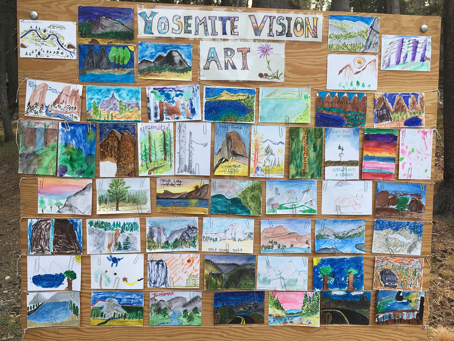 """Paintings by visitors displayed on a large wooden board, with the words """"Yosemite Vision Art"""" at the top. The paintings were created as part of new pop-up educational activities in 2020. Photo: Courtesy of NPS."""