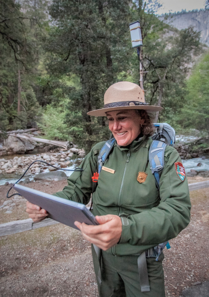 Using special equipment, park rangers can record and monitor bats in Yosemite. Photo: © Yosemite Conservancy/Keith Walklet