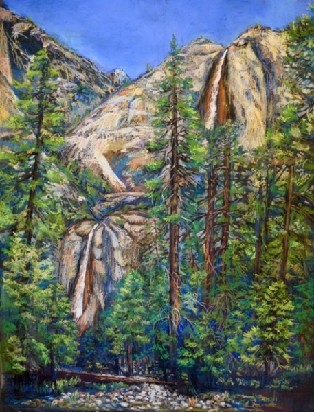Tsungwei (Molly) Moo draws inspiration from Yosemite's natural beauty, seen here in her pastel drawing of Yosemite Falls.
