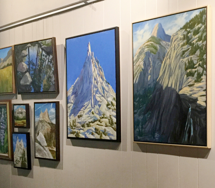 Look for visiting artists' work on the walls at Happy Isles, like these paintings by volunteer art instructor Faith Rumm. Photo: Yosemite Conservancy/Kristin Anderson