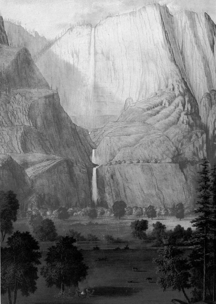Thomas Ayres's 1855 sketches of Yosemite Valley captured dramatic cliffs and waterfalls. (Public domain image, courtesy of NPS)