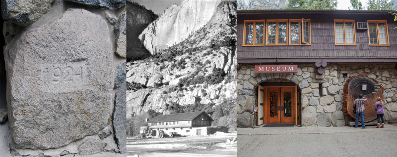 Left to right: The Yosemite Museum cornerstone (courtesy of NPS); a view of the museum in the 1930s, shortly after it opened (courtesy of NPS); and a closer look at the structure, including its giant sequoia cross-section, from 2017 (Yosemite Conservancy/Keith Walklet).