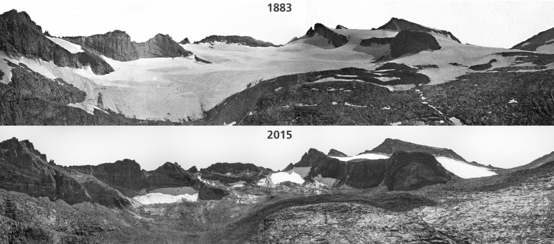 Repeat images show the retreat of Lyell Glacier from 1883 (above) to 2015 (below). NPS Photo