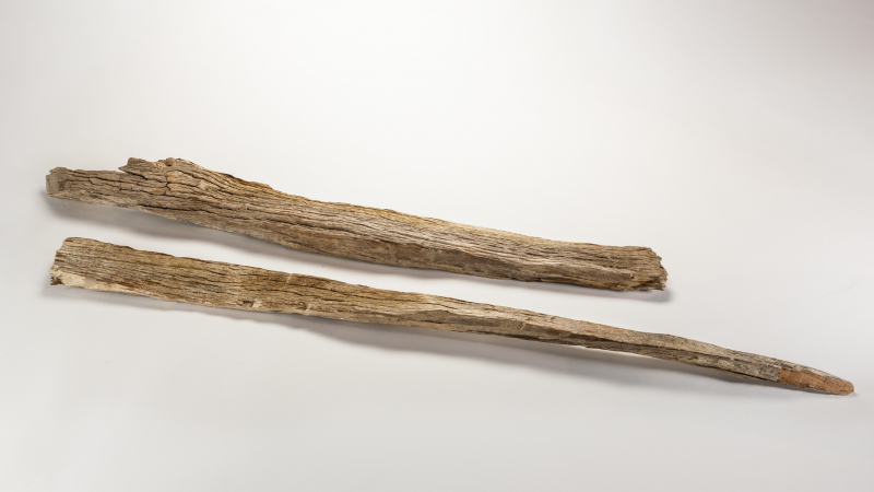 These wooden stakes, found by a glacier survey team on Mount Maclure in 1932, are thought to have been fragments of the ones that John Muir and Galen Clark used to measure the ice's movement in the 1870s. NPS Photo (YOSE 9577)