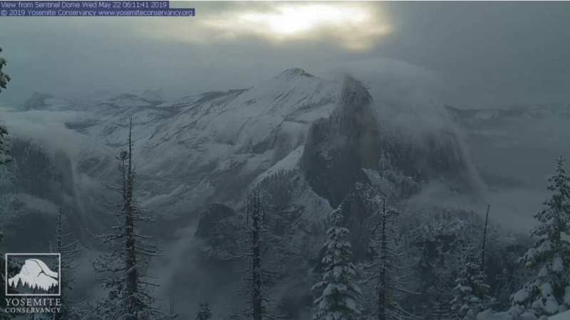Wait, what season is it? This view from our High Sierra webcam on May 22, 2019, captured a sunrise after a spring snowstorm blanketed the high country.