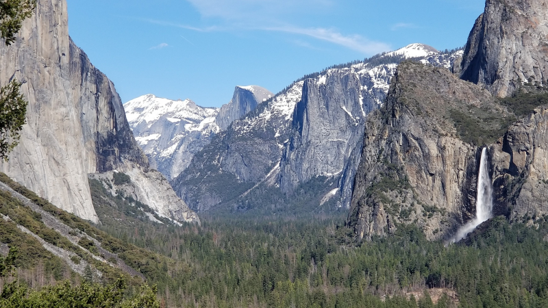 Yosemite Conservancy donor Sharon Mattern captured spring scenery, including a gushing Bridalveil Fall and still-snowy Clouds Rest and Half Dome, during our Waterfall Weekend event in the Valley in early April 2019.