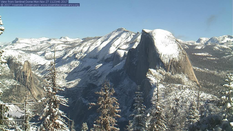 Snow blanketed the high country after a late November storm, creating a dazzling morning display for our High Sierra webcam.