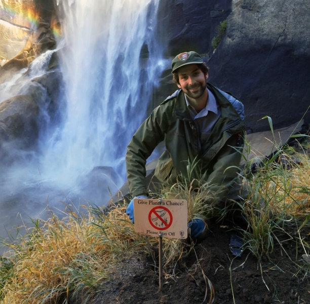 New signs remind hikers to observe Vernal Fall's rare plants — and rainbows — from the safety of official trails. Photo: NPS.