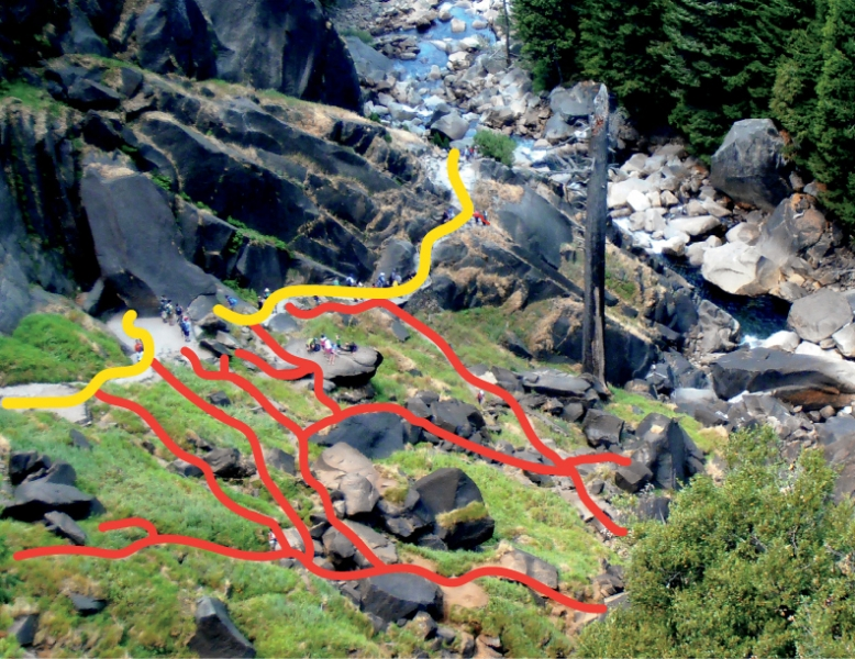 In this bird's-eye view of the Vernal Fall spray zone, the yellow line traces the Mist Trail, while the red lines map the network of informal