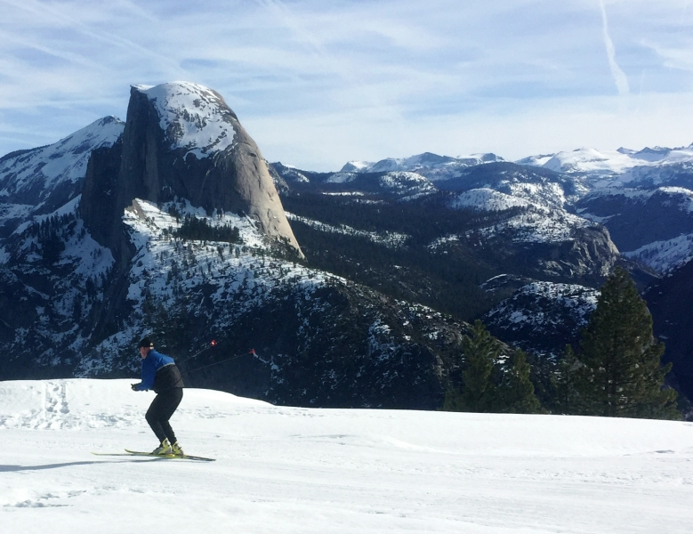 Skate skiing with an unbeatable view. Photo: Ryan Kelly.