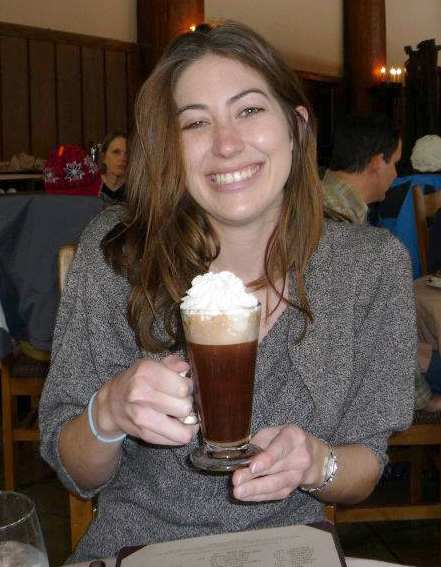 A happy Conservancy employee enjoys her inaugural Yosemite hot cocoa. Photo: Sara Jones.