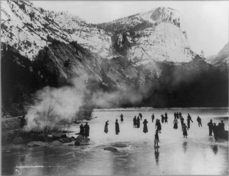 Visitors skating on Mirror Lake in 1910, almost two decades before Yosemite opened its first ice rink. Photo: Courtesy of Yosemite Research Library.