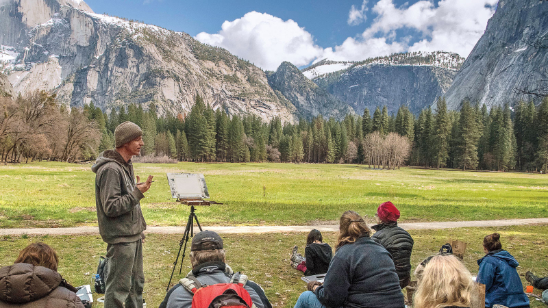 Artists like Frank Eber donate their time to teach creative classes in Yosemite Valley. Photo: Yosemite Conservancy/Al Golub