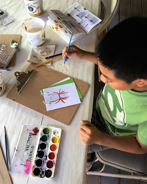 Nature inspires Lora's lessons at the Art Center, where participants use the classic Laws Field Guide as inspiration for their own illustrations.
