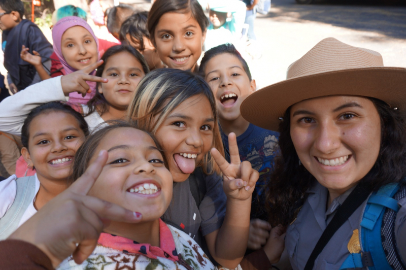 As a student ranger at the Wilderness Education Center, Mirella helped teach fourth-graders about Yosemite - and Yosemite-selfies! Photo: © Mirella Gutierrez